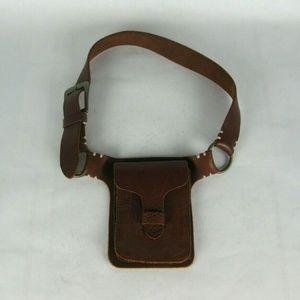 ATHLETA Brown Leather Hip Waist Belt Bag Small